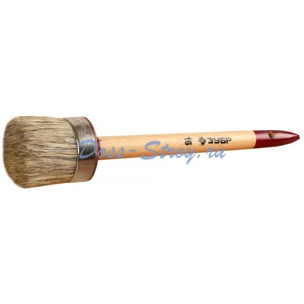 Кисть круглая ЗУБР УНИВЕРСАЛ - МАСТЕР светлая щетина деревянная ручка