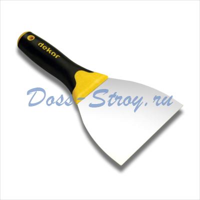 Шпатель для шпатлевки DEKOR 120 мм пластиковая ручка нержавеющая сталь