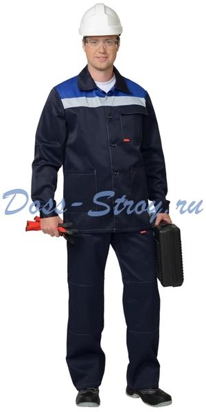 Костюм Стандарт куртка и брюки т.синий с васильковым СОП 50 мм