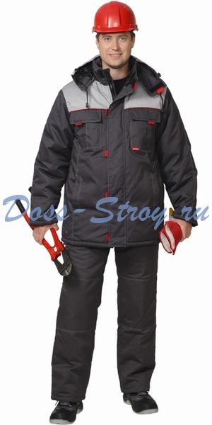 Костюм ФАВОРИТ куртка длинная и брюки тёмно-серые
