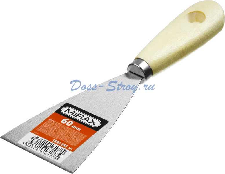 Шпатель стальной MIRAX 60 мм деревянная ручка