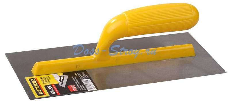 Гладилка штукатурная зубчатая стальная с пластиковой ручкой STAYER 120х280 мм 8х8 мм