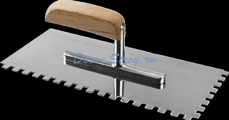 Гладилка штукатурная зубчатая с деревянной ручкой ЗУБР Эксперт Профессионал 130х280 мм 8х8 мм