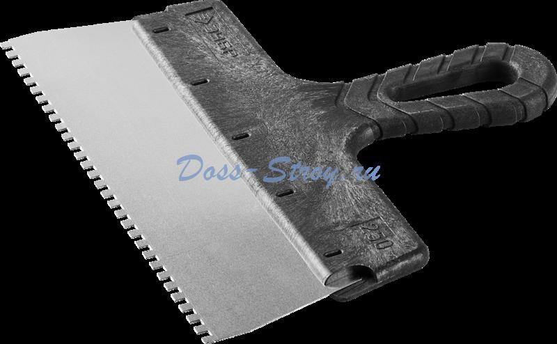 Шпатель ЗУБР МАСТЕР ФАСАДНЫЙ нержавеющее полотно 250 мм 4х4 мм