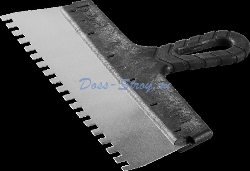 Шпатель ЗУБР МАСТЕР ФАСАДНЫЙ нержавеющее полотно 300 мм 8х8 мм