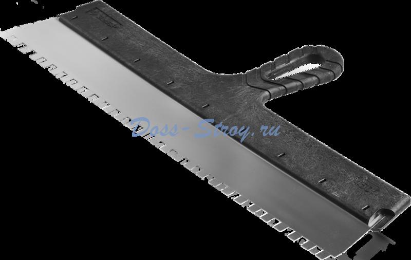 Шпатель ЗУБР МАСТЕР ФАСАДНЫЙ нержавеющее полотно 450 мм 8х8 мм