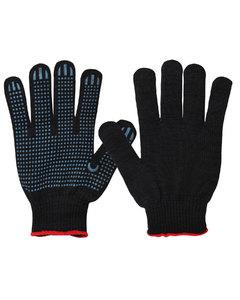 Перчатки хб с ПВХ покрытием ТОЧКА Черная 10 класс вязки
