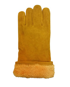 Краги утепленные спилковые желтые с бирюзовым  усиление большого пальца  мутон
