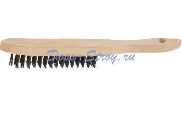 Щетка проволочная стальная с деревянной ручкой STAYER MASTER 5 рядов
