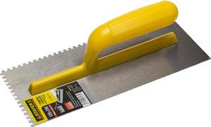 Гладилка штукатурная зубчатая стальная с пластиковой ручкой STAYER 120х280 мм 4х4 мм
