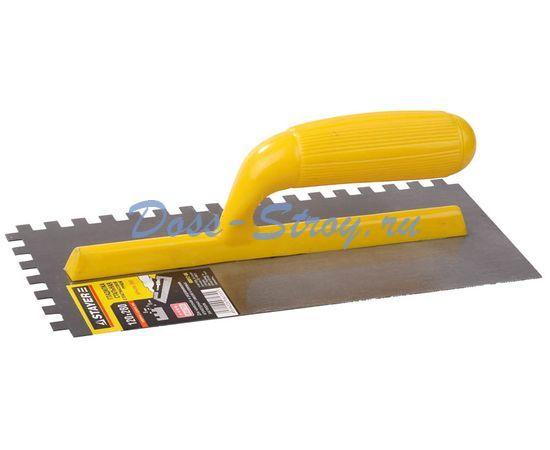 Гладилка штукатурная зубчатая стальная с пластиковой ручкой STAYER 120х280 мм 6х6 мм