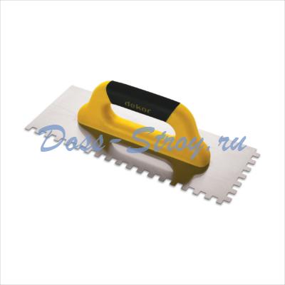 Полутер зубчатый DEKOR 120х500 мм квадратный зуб 8х8 мм пластиковая ручка нержавеющая сталь