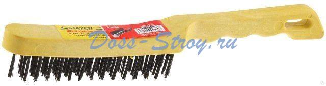 Щетка проволочная стальная с пластмассовой ручкой STAYER MASTER 4 ряда