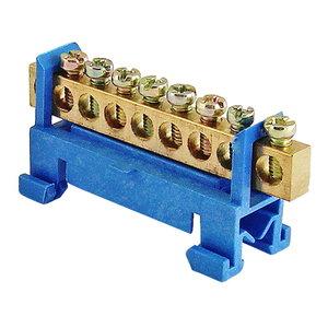 """Шина """"N"""" нулевая с изолятором на DIN-рейку 100А, 6х9 мм (8 отв.)"""