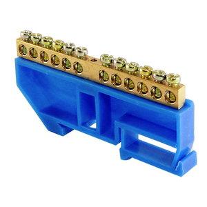 """Шина """"N"""" нулевая с изолятором на DIN-рейку 100А, 6х9 мм (12 отв.)"""
