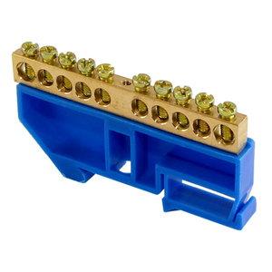 """Шина """"N"""" нулевая с изолятором на DIN-рейку 100А, 6х9 мм (10 отв.)"""