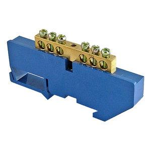 """Шина """"N"""" нулевая с изолятором на DIN-рейку 100А, 6х9 мм (6 отв.)"""