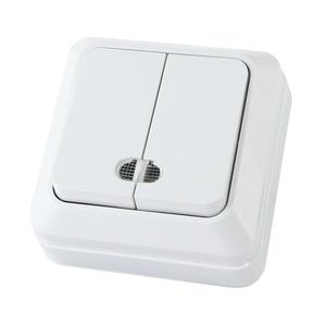 Выключатель о/у Ладога SQ1801-0007, 2 клавиши, 10А, 230В, IP20