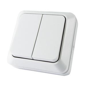 Выключатель о/у Ладога SQ1801-0003, 2 клавиши, 10А, 230В, IP20