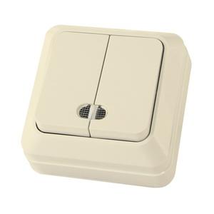 Выключатель о/у Ладога SQ1801-0008, 2 клавиши, 10А, 230В, IP20ь