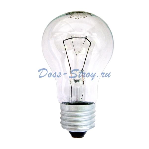 Лампа накаливания Е27, груша, 75Вт, 230В, прозрачная