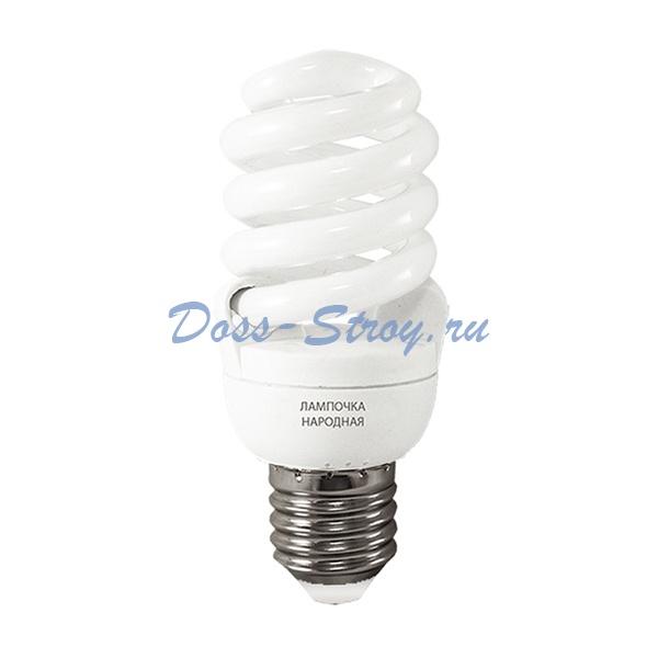 Лампа КЛЛ спираль Е27, 25Вт, 230В, 4000К, хол. белый свет