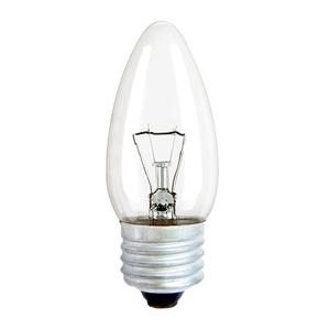 Лампа накаливания Е27, свеча, 40Вт, 230В, прозрачная