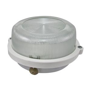 Светильник НПП Е27, 60-100Вт, 230В, IP54, круг без решетки белый, стекло