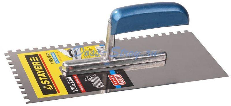Гладилка штукатурная нержавеющая с деревянной ручкой STAYER Profi 130х280 мм