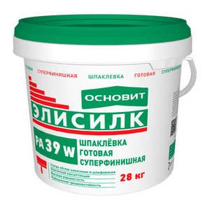 Шпаклевка Основит Элисилк PA39 W, суперфинишная, полимерная, белая, 28 кг