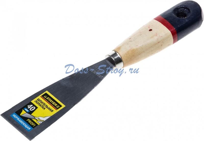 Шпательная лопатка STAYER PROFI деревянная ручка 40 мм