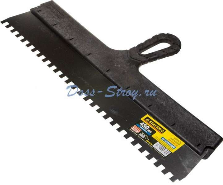 Шпатель STAYER PROFESSIONAL нержавеющий зубчатый 450 мм зуб 8/8 мм