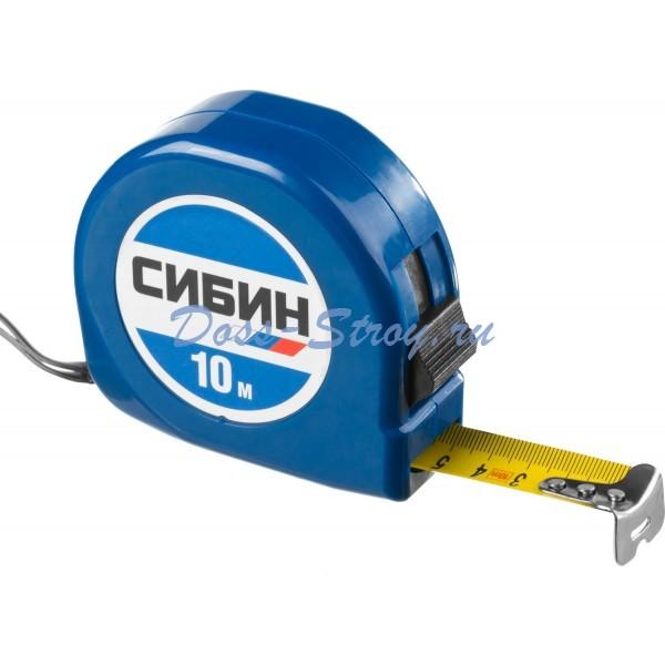 Рулетка в пластиковом корпусе СИБИН 10 м / 25 мм