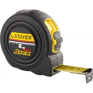 Рулетка STAYER AREX 8 м / 25 мм в ударостойком обрезиненном корпусе