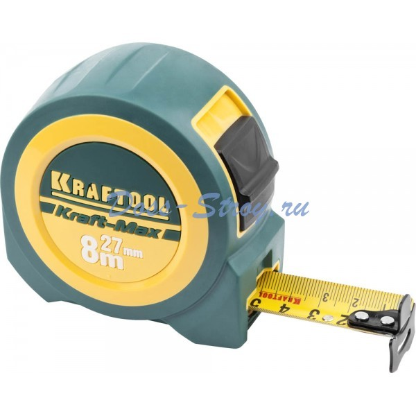 Рулетка со сверхшироким полотном KRAFTOOL Kraft-Max 8 м / 27 мм мощная профессиональная