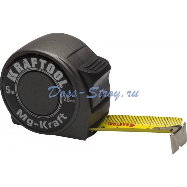 Рулетка в металлическом корпусе KRAFTOOL MG-Kraft 5 м / 25 мм ударопрочная профессиональная