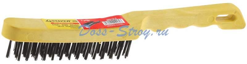 Щетка проволочная стальная с пластмассовой ручкой STAYER MASTER 3 ряда