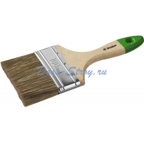 Кисть плоская ЗУБР ЛАЗУРЬ-МАСТЕР смешанная щетина деревянная ручка