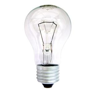 Лампа накаливания Е27, груша, 95Вт, 230В, прозрачная