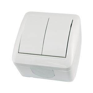 Выключатель о/у Селигер SQ1818-0002, 2 клавиши, 10А, 230В, IP44