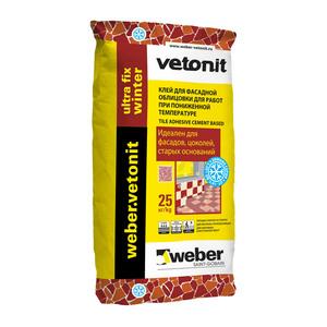 Клей для плитки цементный Weber Vetonit Ultra Fix зимний, 25 кг