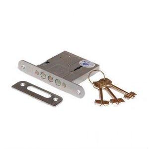 Замок врезной ЗВ8-4С 76600/13 сувальдный ключ 3 ригеля хром
