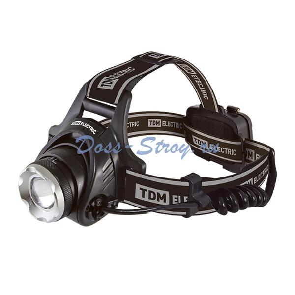 Фонарь налобный аккумул., SQ0350-0047, LED 3Вт, USB-кабель, IP55
