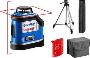 Нивелир лазерный ЗУБР КРЕСТ 360 №2 360° 20м/70м точн. +/-03 мм / м штатив