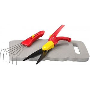 Набор GRINDA садовый 3 предмета: ножницы для стрижки травы, подколенник, грабельки