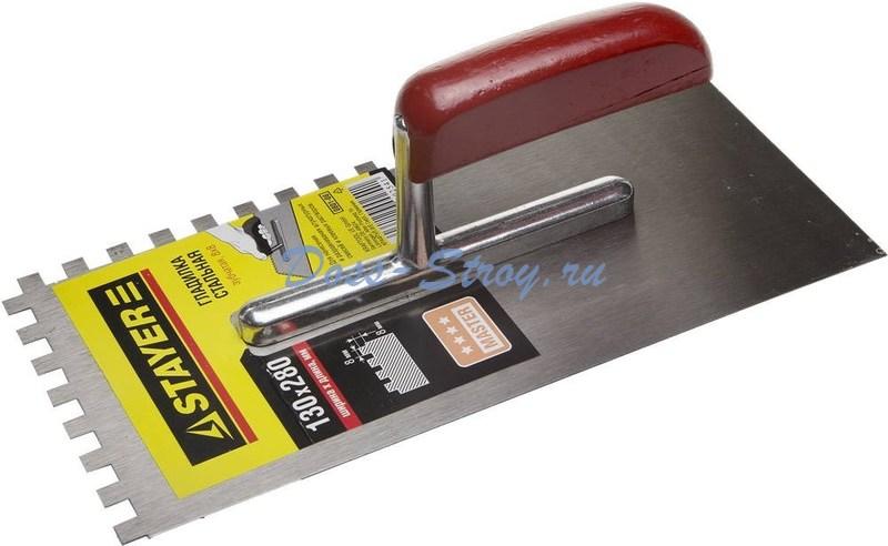 Гладилка штукатурная зубчатая стальная с деревянной ручкой STAYER 130х270 мм 8х8 мм
