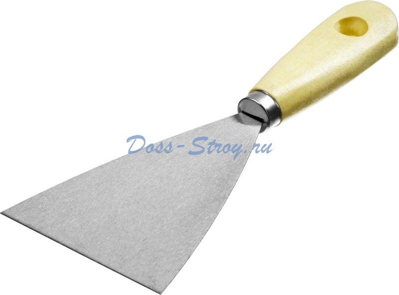 Шпатель стальной MIRAX 80 мм деревянная ручка