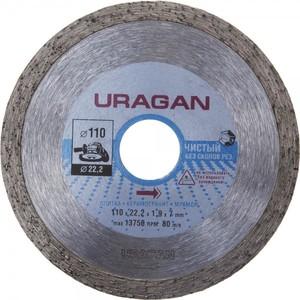Диск алмазный отрезной URAGAN сплошной по керамограниту мрамору плитке