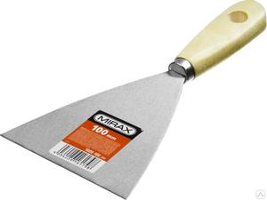 Шпатель стальной MIRAX 100 мм деревянная ручка
