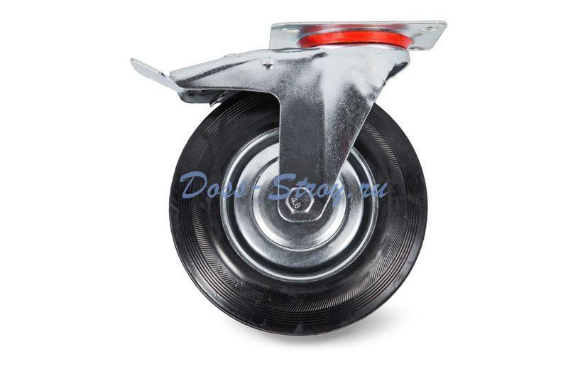 Колесо поворотное тормоз рез. SCb 93 75мм Tor industries